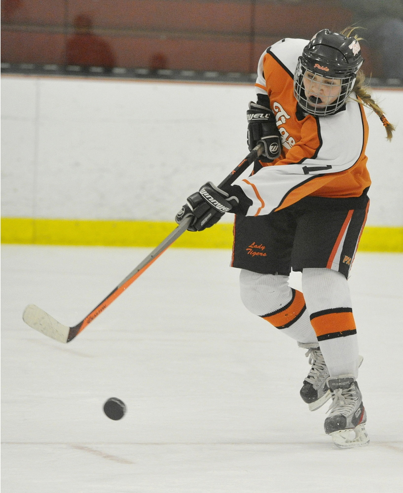 Suzette Lamoureux of Biddeford sends a shot on goal Tuesday night during the second period of the 1-0 overtime playoff win over Gorham/Bonny Eagle. Biddeford finished with 38 shots on goalie Maddy Hamblen.