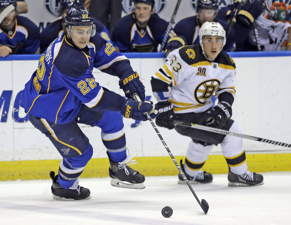St. Louis Blues' Kevin Shattenkirk, left, and Boston Bruins' Brad Marchand chase after a loose puck during the second period of an NHL hockey game Thursday in St. Louis.