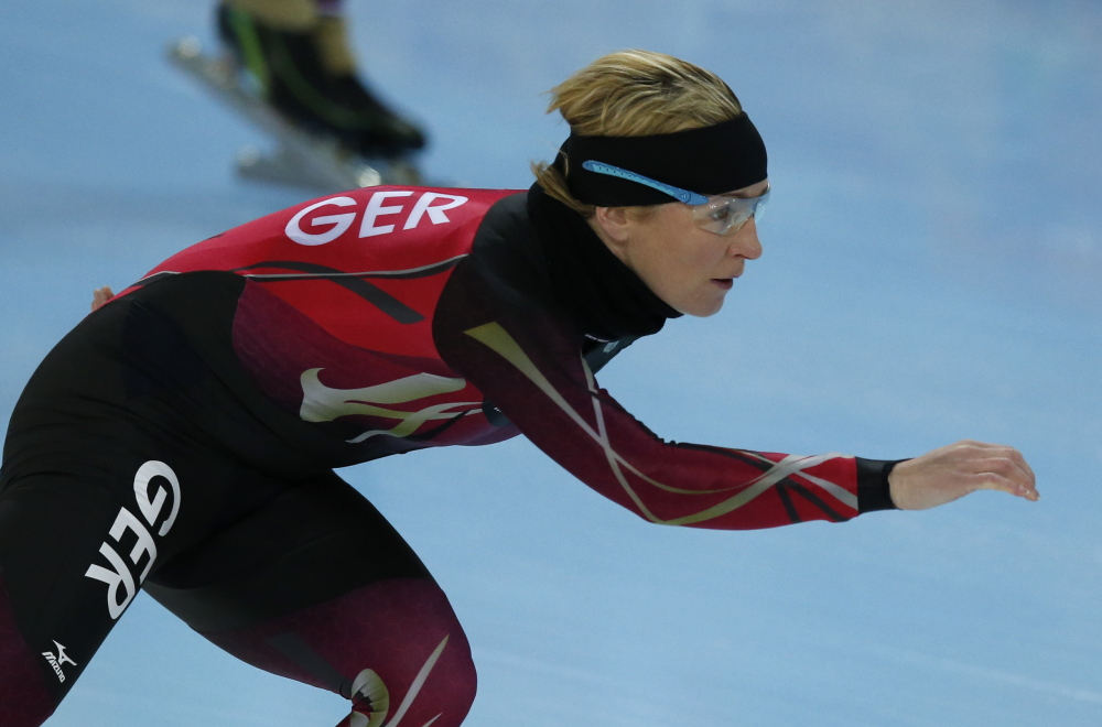 German speedskater Claudia Pechstein trains at the Adler Arena Skating Center during the 2014 Winter Olympics.