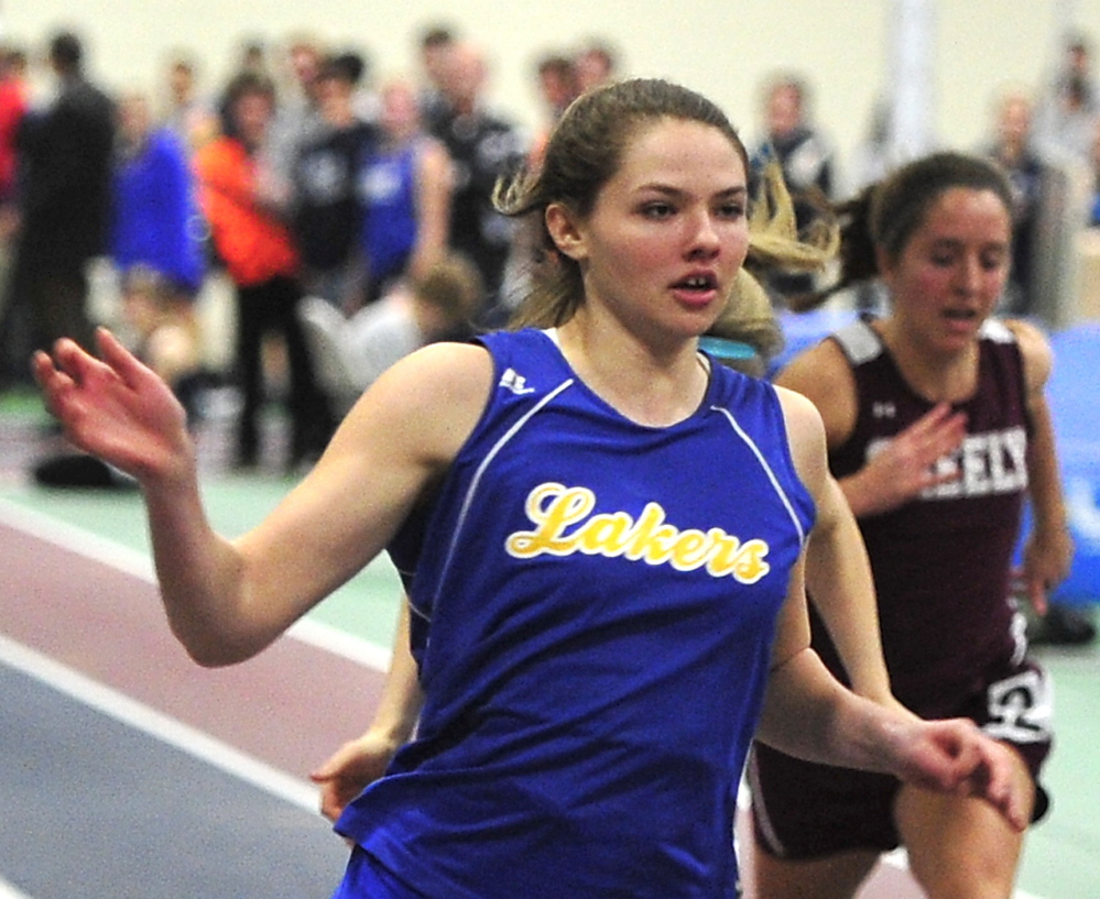 Kate Hall of Lake Region easily wins the senior 55-meter dash in 7.08 seconds at the Western Maine Conference championships. She also won the long jump and 200.