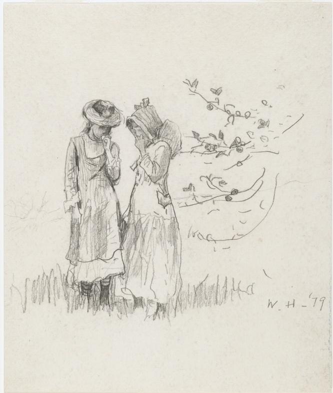 """""""Two Girls in a Field"""" by Winslow Homer, 1879."""