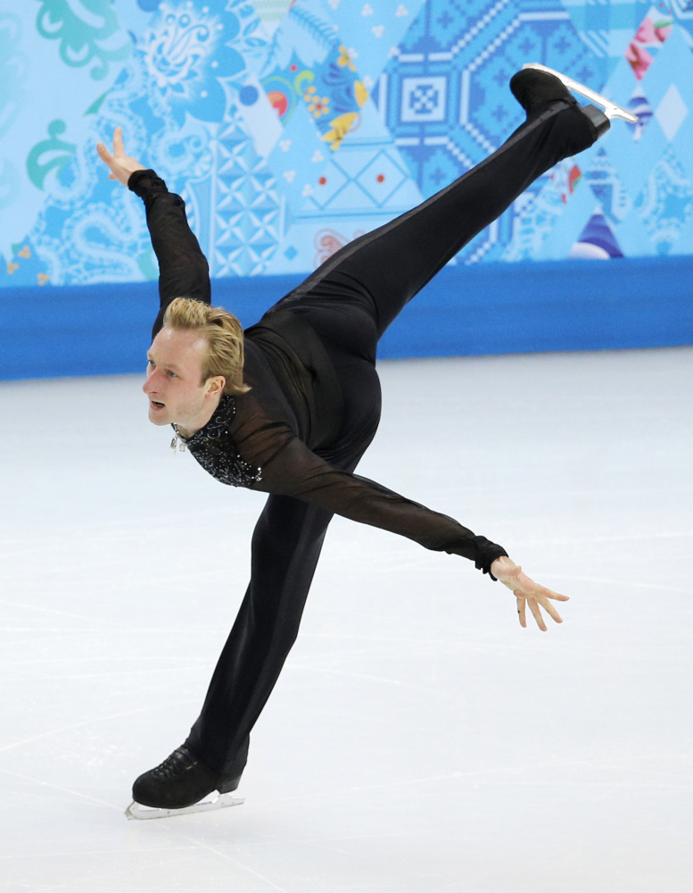 Evgeni Plushenko of Russia competes in the men's team free skate figure skating competition Sunday at the Iceberg Skating Palace during the 2014 Winter Olympics in Sochi, Russia.