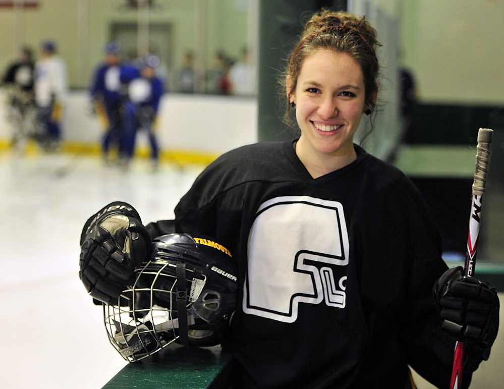 """Alyse Bazinet, a senior co-captain for the No. 2-ranked Falmouth girls' hockey team, said, """"I just love this team so much. We do so much together."""""""