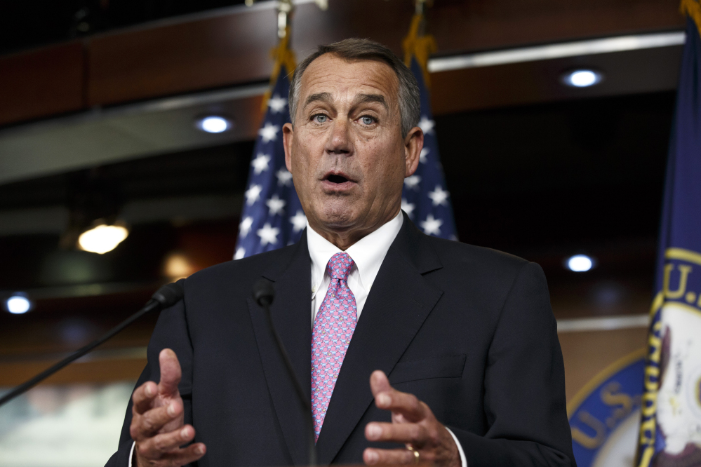 """House Speaker John Boehner of Ohio said Tuesday of President Obama: """"We'll let his party give him the debt ceiling increase that he wants."""""""