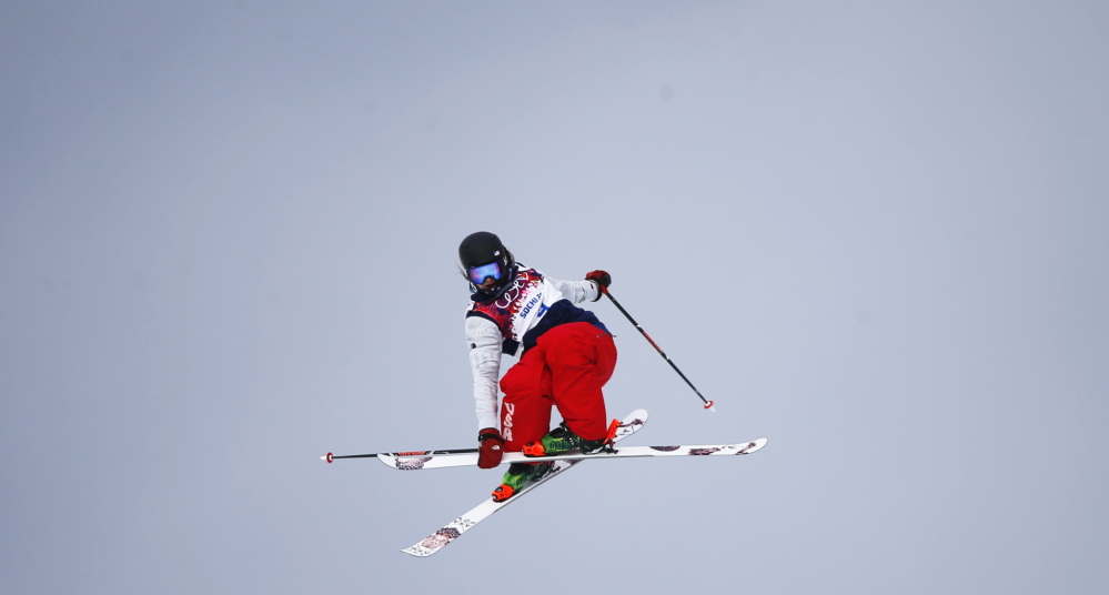 Devin Logan of the United States performs a jump at the finish line Tuesday during the women's freestyle skiing slopestyle qualification event at the Winter Olympics. Logan took the silver medal, behind Dara Howell of Canada. Kim Lamarre of Canada took the bronze.