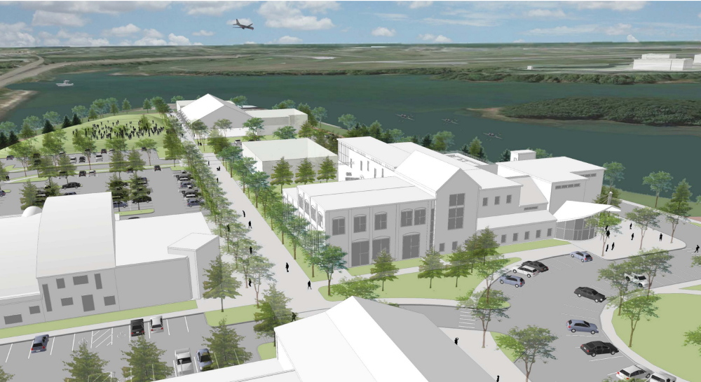 A rendering shows a birdseye view of the pedestrian corridor of proposed development on Thompson's Point peninsula in Portland. A new master plan calls for redeveloping roughly 30 acres of former industrial land into a business, arts, sports and transportation complex that will include up to 120 residential condominiums.