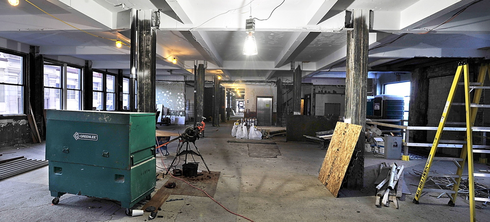 Demolition is almost complete inside the former Portland Press Herald building at 390 Congress St.
