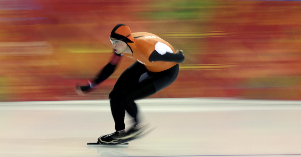 Sven Kramer, of the Netherlands, competes in the men's 5,000-meter speed skating race at the Adler Arena Skating Center during the 2014 Winter Olympics in Sochi, Russia