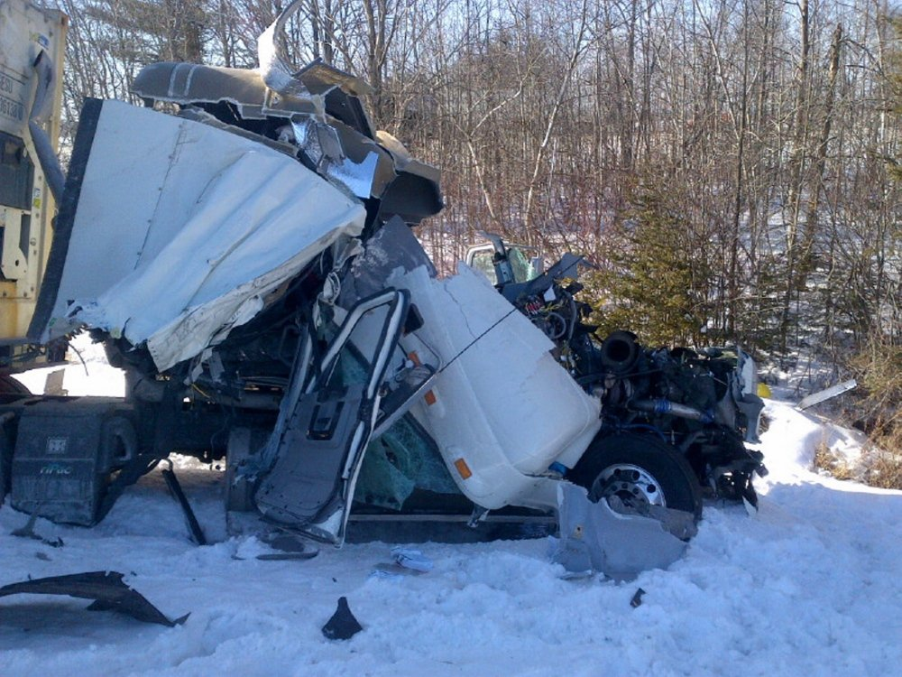 The truck driven by Larry Edwards of Pennsylvania ended up in the median of Interstate 95 in Benton on Wednesday.