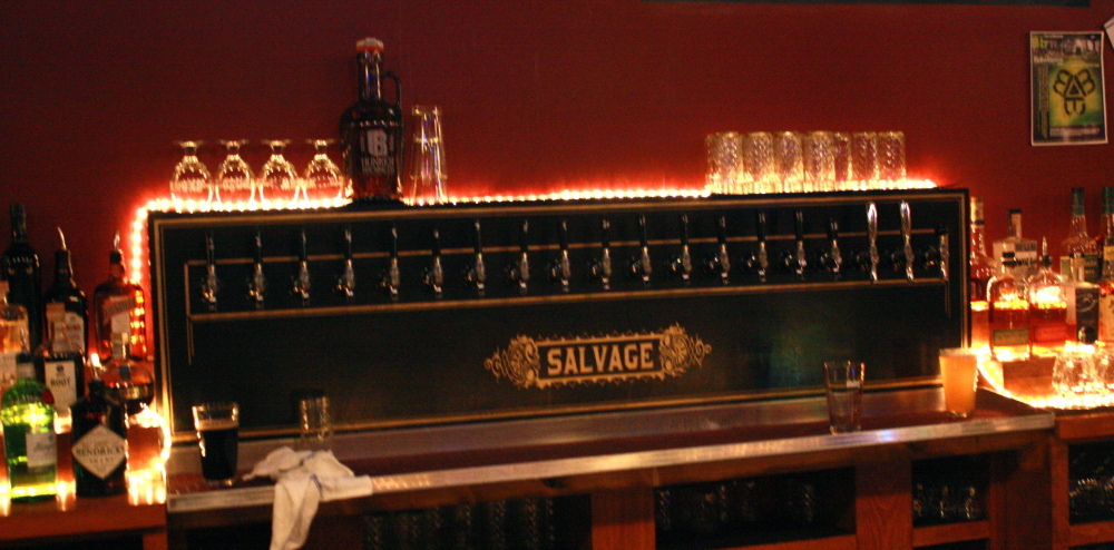 Open until 1 a.m., the bar at Salvage features 15 Maine microbrews on tap, wine and a lengthy bourbon list.