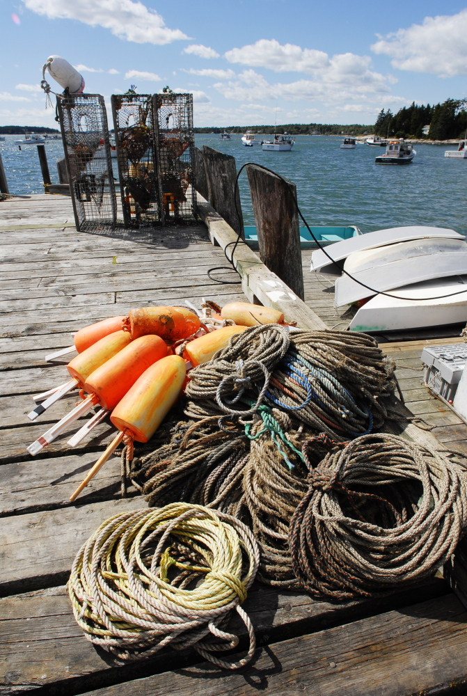 Traps and ropes like these are essential gear for a lobsterman but they also pose risks of entanglement. A fisherman, 19, was pulled overboard off Cape Porpoise on Wednesday.