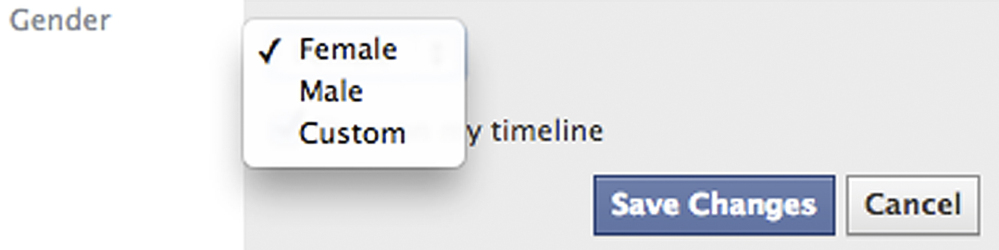 This screen shot released by Facebook shows the new gender option screen. Facebook is adding a customizable option with about 50 different terms people can use to identify their gender as well as three preferred pronoun choices: him, her or them.