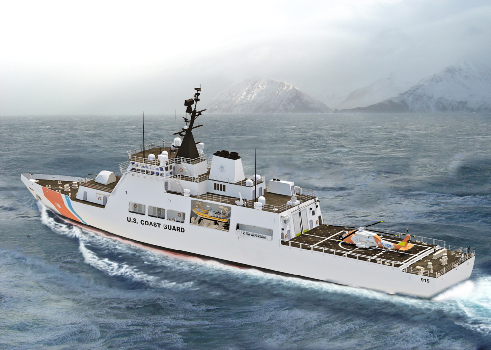 Bath Iron Works' proposed design of a next-generation vessel for the Offshore Patrol Cutter program includes a helicopter landing pad and a bay for launching inflatable boats.