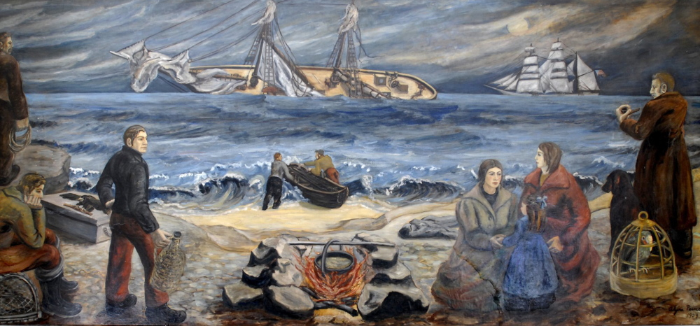 """The 1864 wreck of the British steamship RMS Bohemian is depicted in this mural inside the post office at 15 Cottage Road in South Portland. """"Shipwreck at Night"""" was painted in 1939 by Alzira Peirce, the wife of Bangor-born painter Waldo Peirce."""