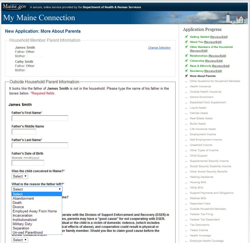 This screen shot shows some of the questions that are asked on an online application for MaineCare.