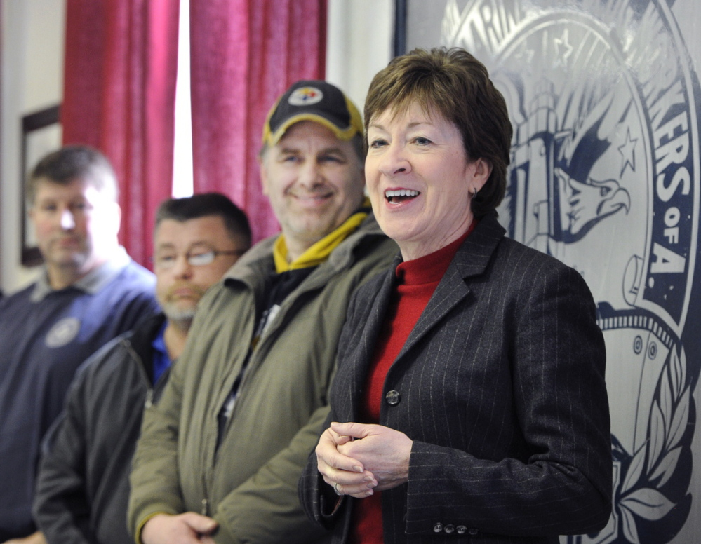 Sen. Susan Collins, a Republican from Maine, visits Bath Iron Works on Tuesday on a visit to speak with BIW President Frederick Harris and union representatives.