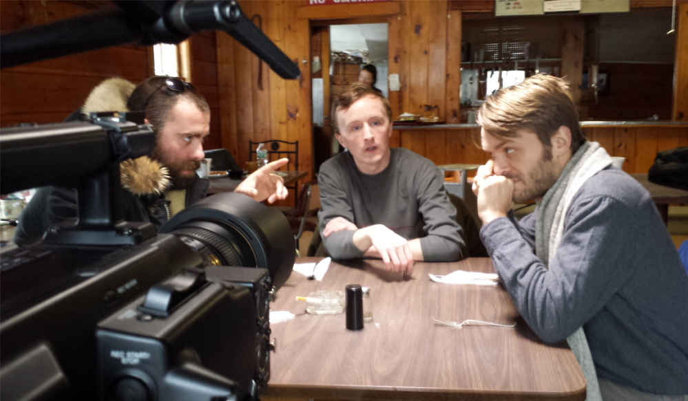 "Actors Aaron Duffey, left, Paul Cram and Ian Carlsen on the set of ""Anniversary"" in the remote Washington County town of Wesley."