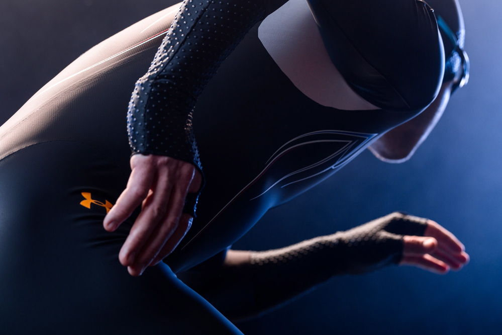 This undated image provided by Under Armour shows the Mach 39 suit for the U.S. Olympic speedskating team.