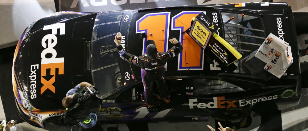A victory in the second of two NASCAR Sprint Cup qualifiers left Denny Hamlin standing tall on his car in Victory Lane on Thursday. But that win, as well as a first-place finish in the exhibition Sprint Unlimited, are just confidence-builders whereas the real test comes Sunday.