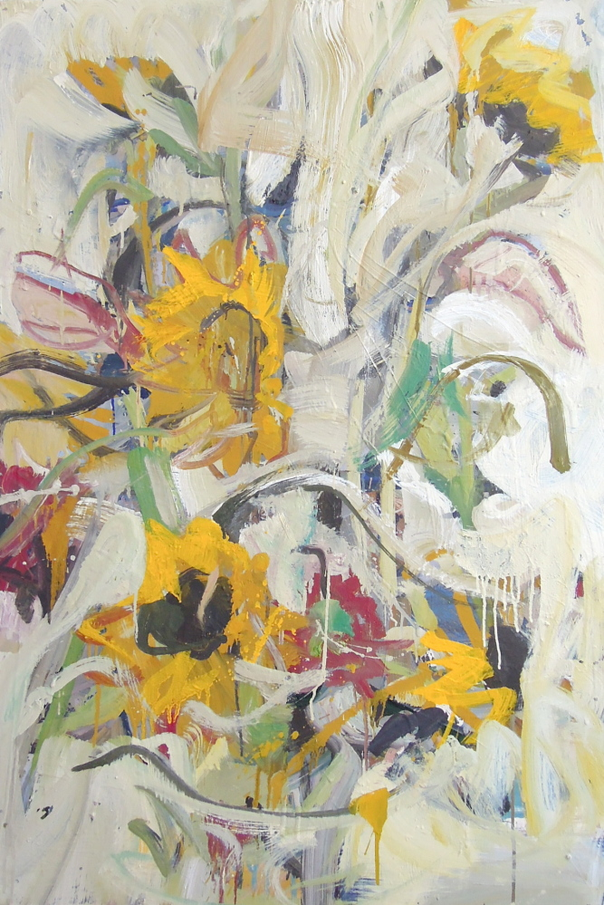 "At Greenhut Galleries' ""Winter Meander"" show: John Imber's ""Sunflowers."""