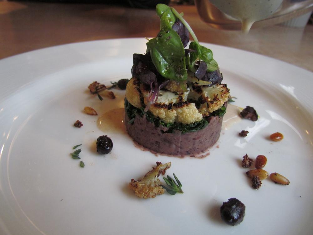 The Restaurant Week seven-course vegetarian tasting menu at David's Opus Ten includes grilled cauliflower, black bean-garlic puree, braised kale and brown butter nage.