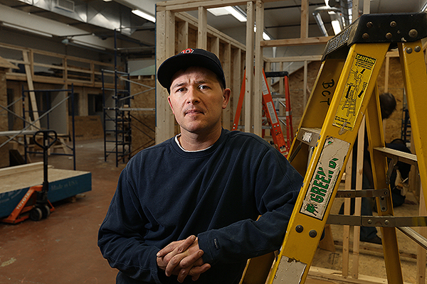 Travis Bentley takes a break during a building construction class at Central Maine Community College. He said that if he had gone to prison rather than through the treatment program, he likely would have gone back to drugs when he was released.