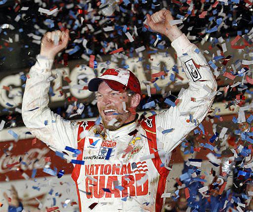 Dale Earnhardt Jr. celebrates in Victory Lane after winning the NASCAR Daytona 500 in Daytona Beach, Fla., on Sunday.