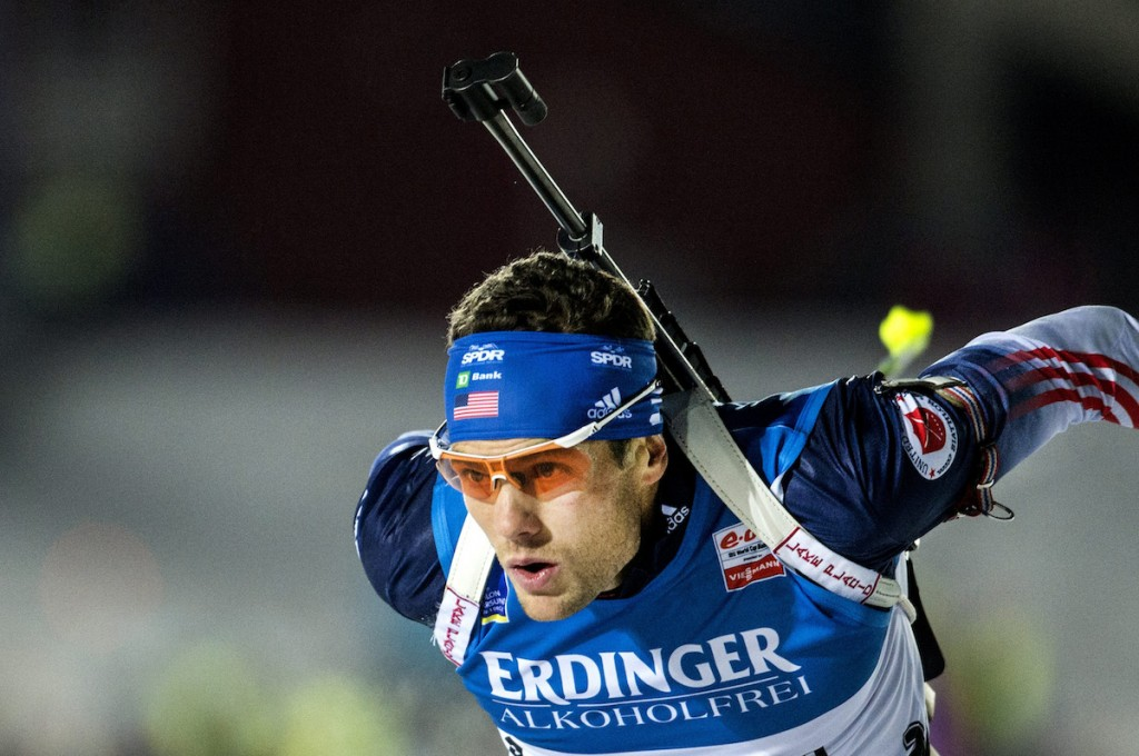 Tim Burke of the U.S. competes to take third place during the men's 10km sprint race during the Biathlon World Cup in Ostersund November 30, 2013. REUTERS/Pontus Lundahl/TT News Agency (SWEDEN - Tags: SPORT BIATHLON) ATTENTION EDITORS - THIS IMAGE HAS BEEN SUPPLIED BY A THIRD PARTY. IT IS DISTRIBUTED, EXACTLY AS RECEIVED BY REUTERS, AS A SERVICE TO CLIENTS. SWEDEN OUT. NO COMMERCIAL OR EDITORIAL SALES IN SWEDEN. NO COMMERCIAL SALES - RTX15YTC :rel:d:bm:GF2E9BU1BF101