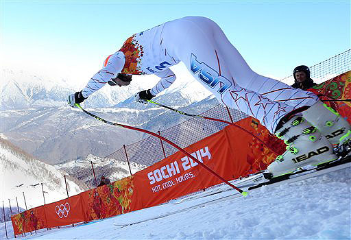 Bode Miller of the United States makes a downhill training run for the 2014 Winter Olympics on Thursday in Krasnaya Polyana, Russia. 2014 Sochi Olympic Games;Winter Olympic games;Olympic games;Spor