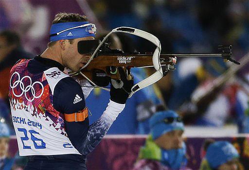 Lowell Bailey shoots during the men's biathlon 10k sprint at the 2014 Winter Olympics on Feb. 8. 2014 Sochi Olympic Games;Winter Olympic games;Olympic games;Spor