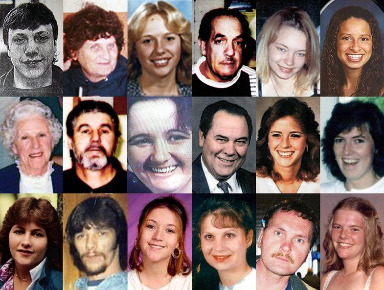 This composite shows the faces of some of the Maine victims whose slayings have never been solved.