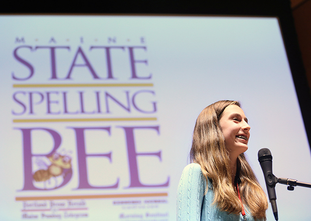 Lucy Tumavicus, 14, of Portland, representing Cumberland County, won the Maine State Spelling Bee on Saturday after a record 94 rounds at the Hannaford Lecture Hall at the University of Southern Maine in Portland.
