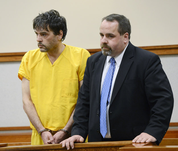 Andrew Leighton appears in Cumberland County Unified Court with his attorney, Robert LeBrasseur, on May 6, 2013. Leighton is accused of shooting his mother to death.