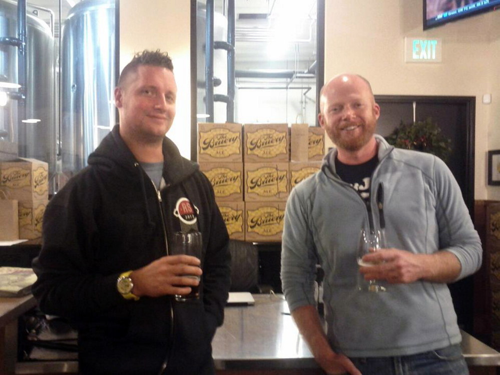 Matthew Mills, left, and Chris Schofield, pictured here at The Bruery tasting room in California, hope to open Barreled Souls Brewing in Saco by July..