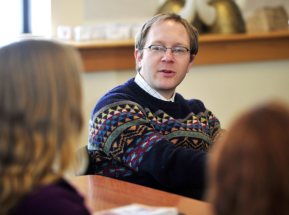 English teacher and adviser to the team, Jon York, gives feedback to team members on their speech as the Scarborough Academic Decathlon team practices before the state competition this weekend. Monday , February 24, 2014. Gordon Chibroski, Staff Photographer