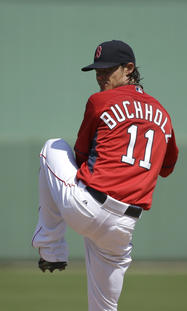 "Red Sox pitcher Clay Buchholz pitched one inning Tuesday in his spring debut. He gave up one run, three hits and a walk. He struck out one. ""He showed decent arm strength,"" said Red Sox Manager John Farrell."