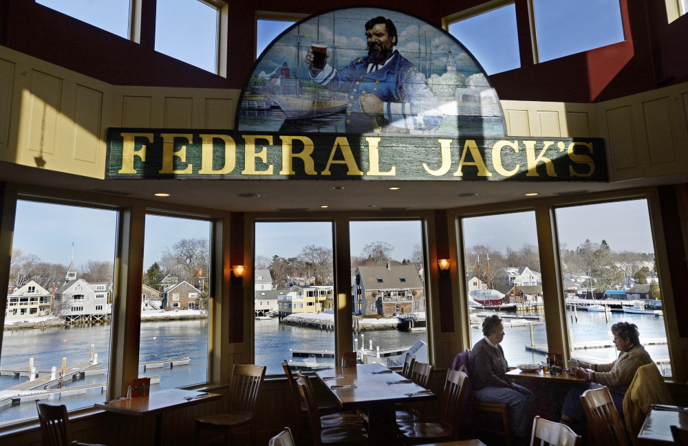 Diners have a great view while enjoying their meal at Federal Jack's Restaurant and Brew Pub in Kennebunk.