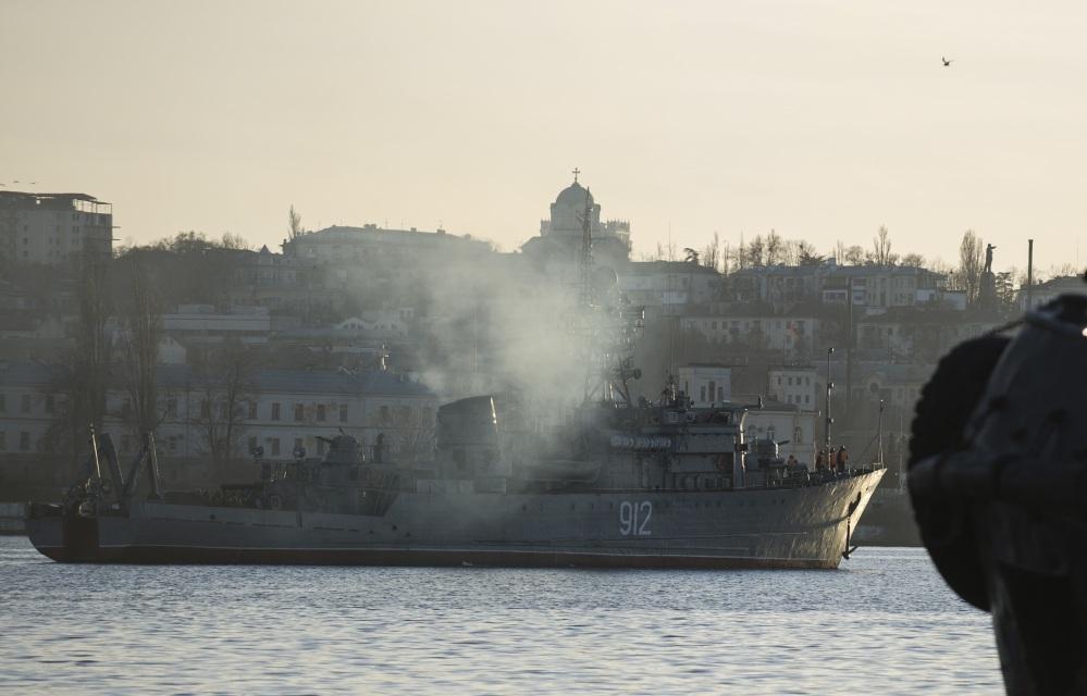 A Russian navy minesweeper is seen in the harbor of Sevastopol, Ukraine, in the strategic region of Crimea.