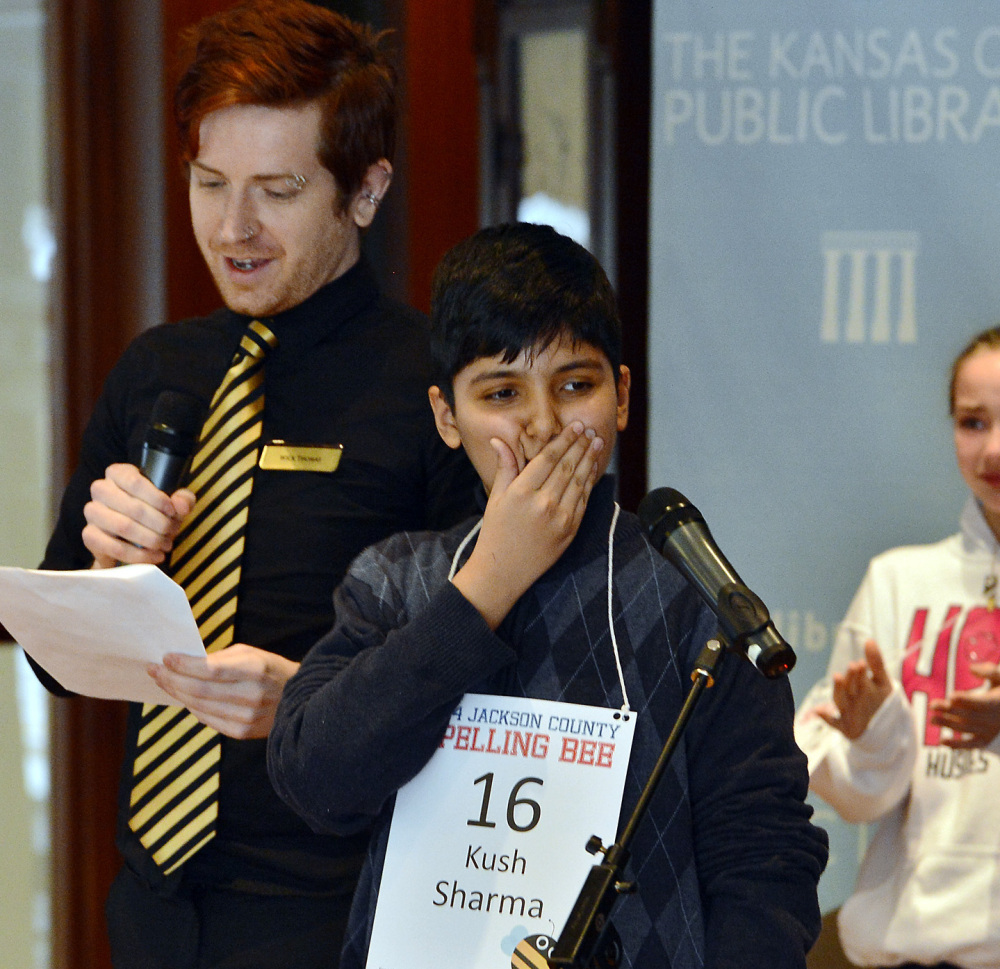 Kush Sharma wins the Jackson County Spelling Bee in Kansas City, Mo., Saturday.