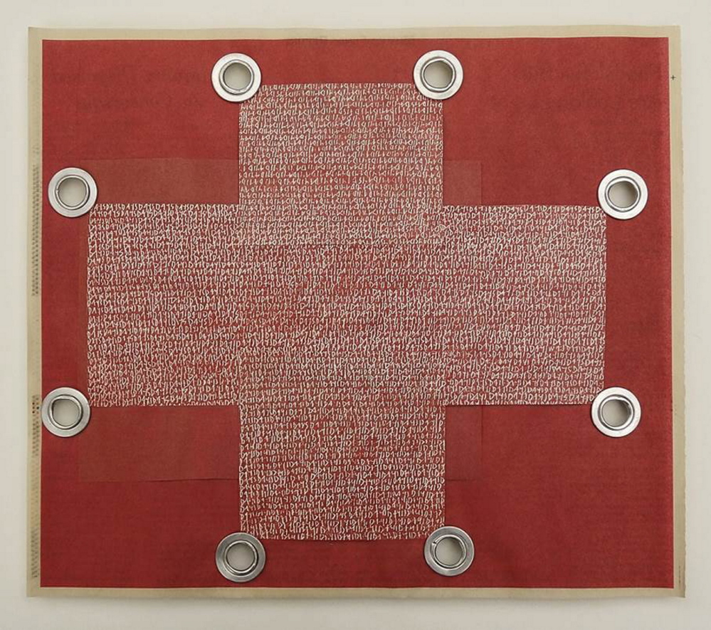 """Karen MacDonald's """"Days (Red Cross),"""" collaged newspaper, color pencil on paper, and grommets."""