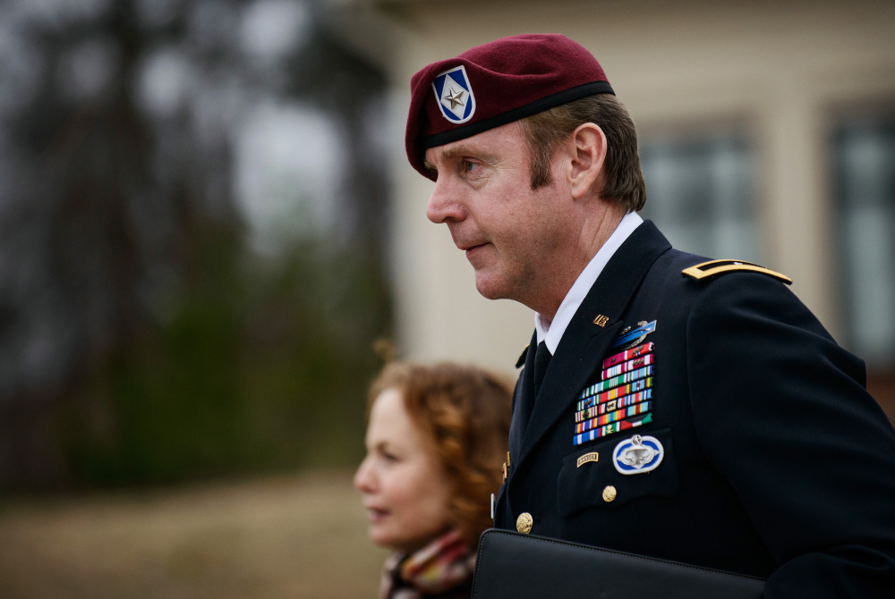 Brig. Gen. Jeffrey Sinclair leaves the courthouse in Fort Bragg, N.C., last week with attorney Ellen Brotman. The charges against Sinclair come as the Army is under pressure to confront an epidemic of sexual misconduct.