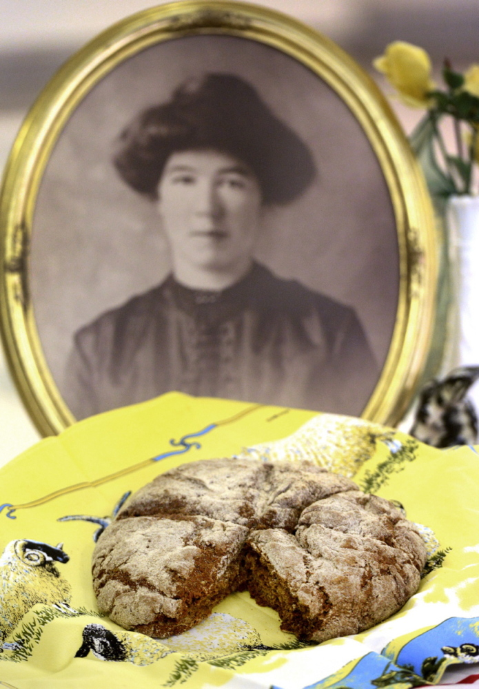 Ann Marie Chandler learned to make her brown Irish bread from her grandmother Annie Crawley Folan (shown in portrait), an immigrant from Ireland. Home cooks of Irish descent gathered recently at Portland's Maine Irish Heritage Center, with St. Patrick's Day approaching, to share recipes for Irish bread that have been handed down through their families for generations.