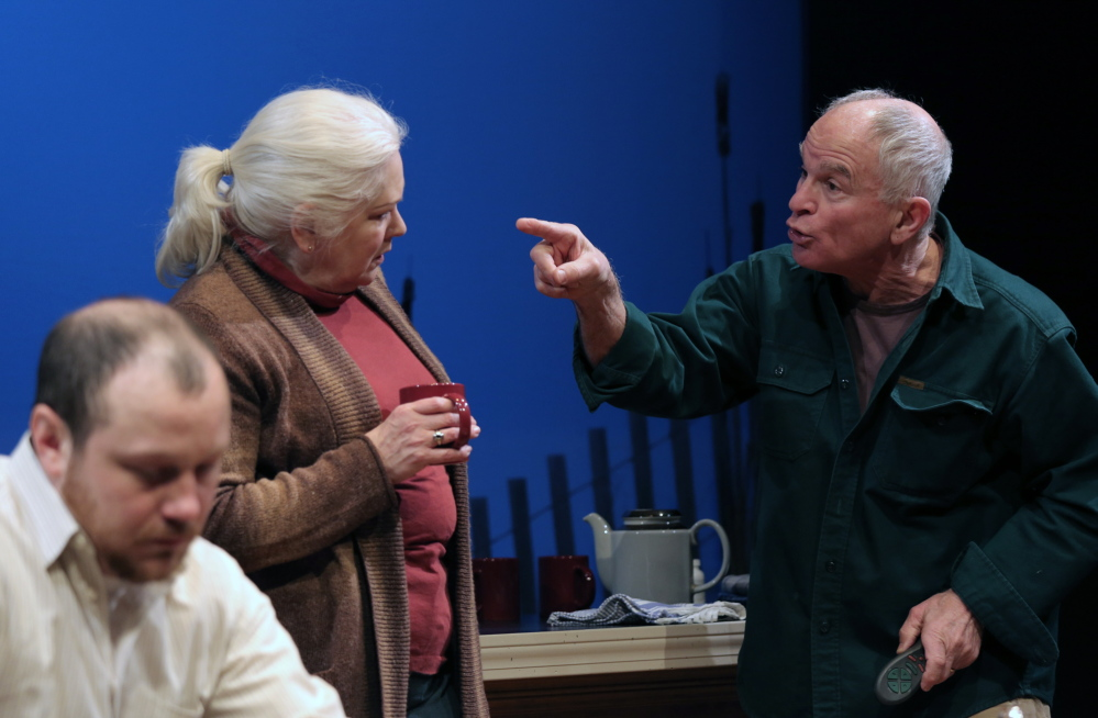 """J.P. Guimont as Jack, Florence Lacey as Peg and Will Rhys as Gunner in Good Theater's production of """"The Outgoing Tide"""" at St. Lawrence Arts in Portland."""