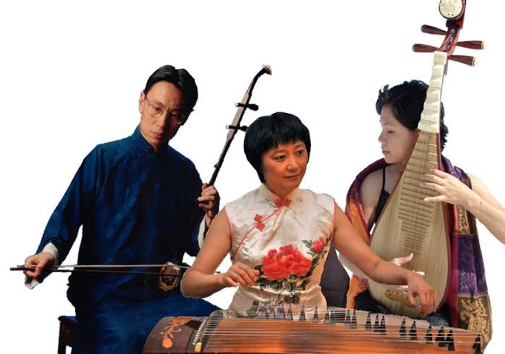 The Silk Trio, an innovative Chinese music ensemble, performs at Bates College in Lewiston on Friday.