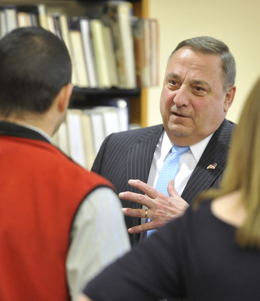 """Maine Gov. Paul LePage told students, """"Not a single young lady or young man in this room deserves to be abused,"""" at South Portland High School on Tuesday."""