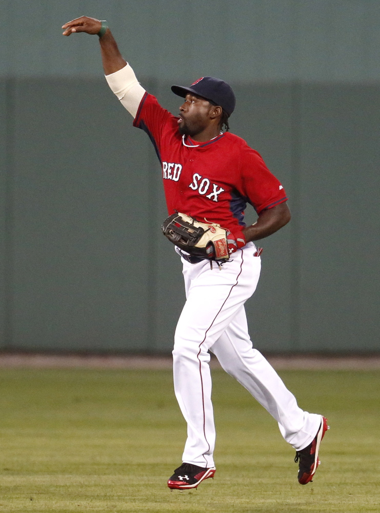 Jackie Bradley Jr., competing for the starting center-field job with Grady Sizemore, went 1 for 3 with a double against the Pirates at Fort Myers, Fla.