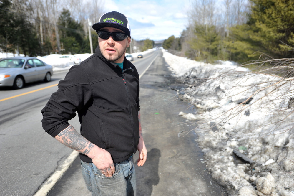 Jesse Knights, 29, of Madison, was among the first on the scene of a fatal car accident on Route 139 near the Norridgewock and Fairfield town line late Thursday.