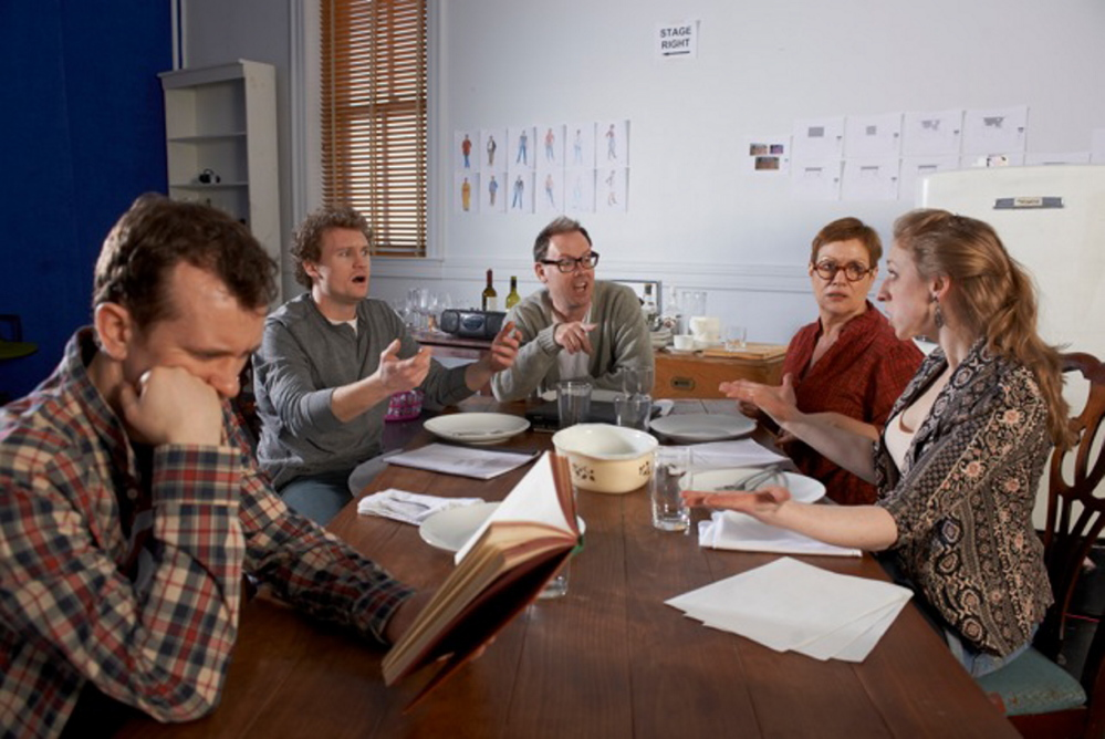 """Garrett Zuercher, left, Matthew Stuart Jackson, Michael Sean McGuinness, Elizabeth West and Kat Moraros in """"Tribes, an exploration of how a family copes when one of its members is deaf, opening this week at Portland Stage Company."""