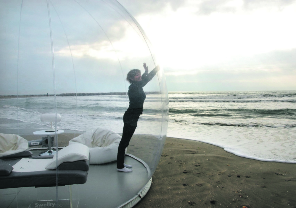 The CasaBubble's spherical shape and its ability to muffle outside sounds are intended to have a calming effect.