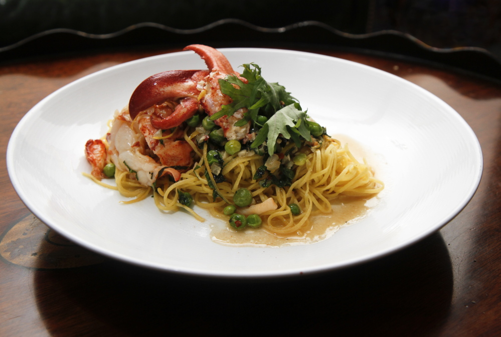 Lobster spaghetti is one of a number of preparations using the iconic crustacean at the Maine Harvest Dining Room.